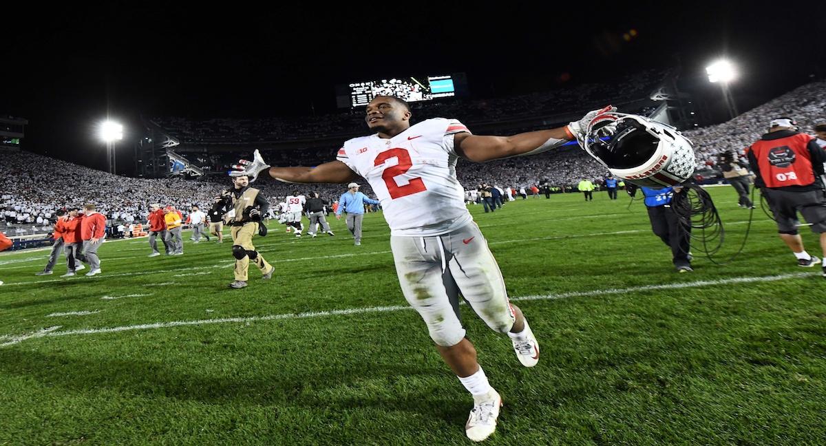 Sep 29, 2018; University Park, PA, USA; Ohio State Buckeyes running back J.K. Dobbins (2) reacts after defeating Penn State 27-26 at Beaver Stadium. Mandatory Credit: James Lang-USA TODAY Sports