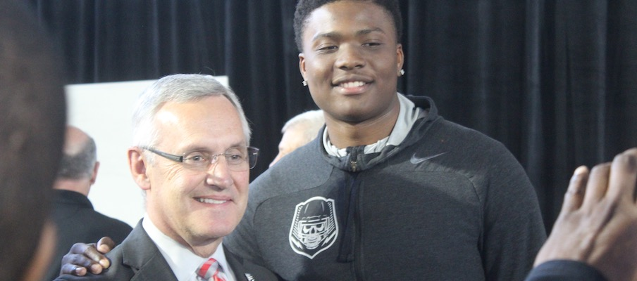 Jim Tressel and Dwayne Haskins