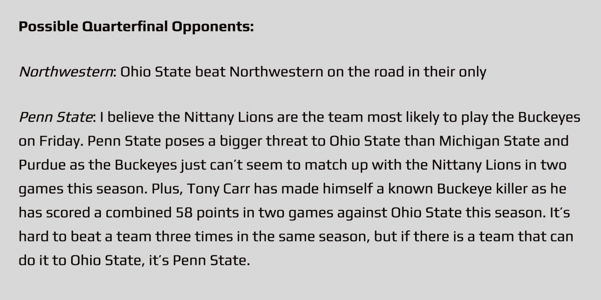 Northwestern seems good.