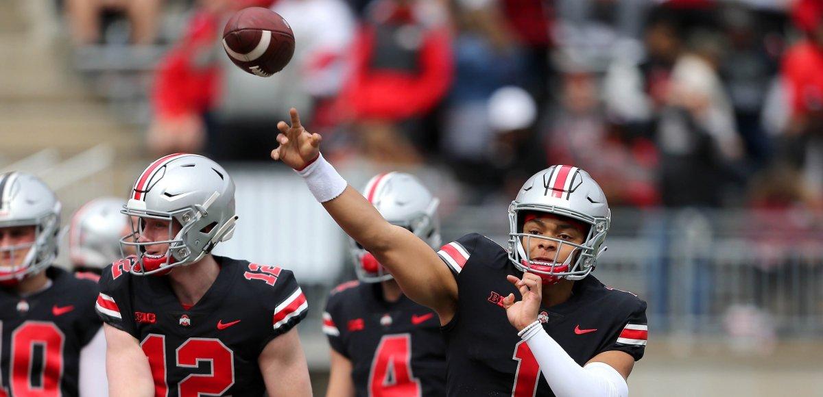 Apr 13, 2019; Columbus, OH, USA; Ohio State Buckeyes quarterback Justin Fields (1) during the first half of the Spring Game at Ohio Stadium. Mandatory Credit: Joe Maiorana-USA TODAY Sports
