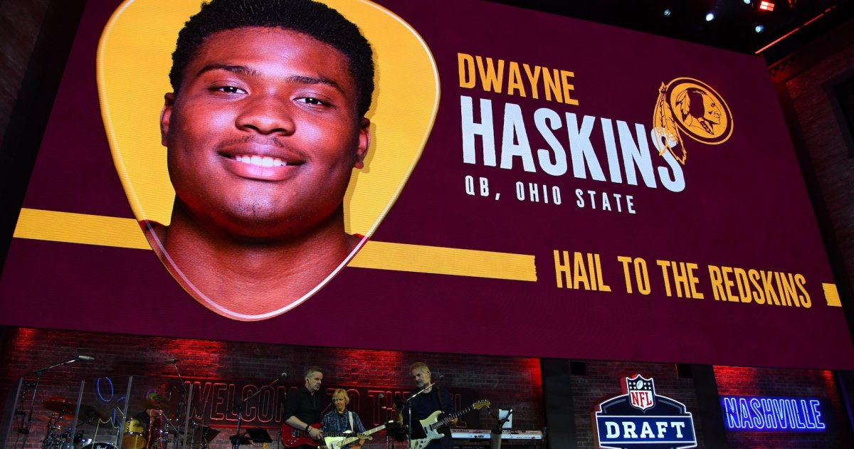 Nashville, TN, USA; Graphic of Dwayne Haskins (Ohio State) is selected as the number fifteen overall pick to the Washington Redskins in the first round of the 2019 NFL Draft in Downtown Nashville. Haskins was not in attendance. Mandatory Credit: Christopher Hanewinckel-USA TODAY Sports