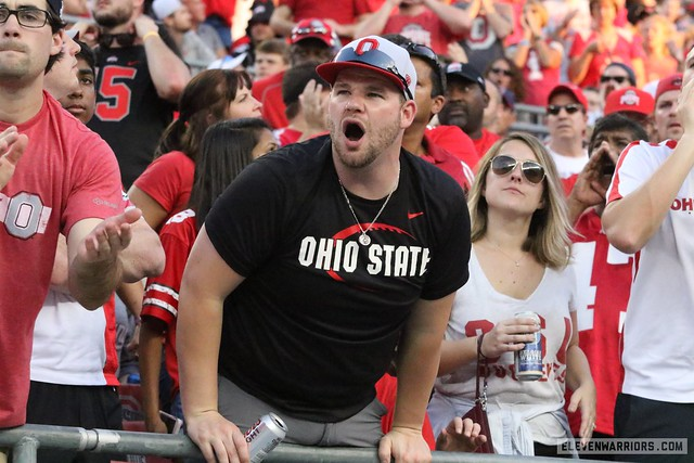Ohio State fans enjoying the game and a drink