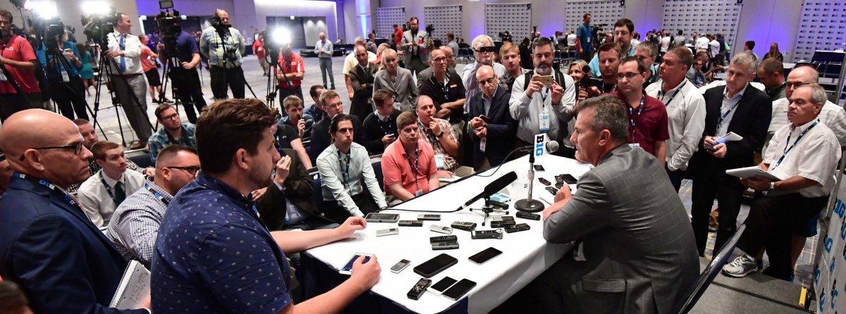 Jul 24, 2017; Chicago, IL, USA; Ohio State head coach Urban Meyer addresses the media during the Big Ten football media day at Hyatt Regency McCormick Place. Mandatory Credit: Patrick Gorski-USA TODAY Sports