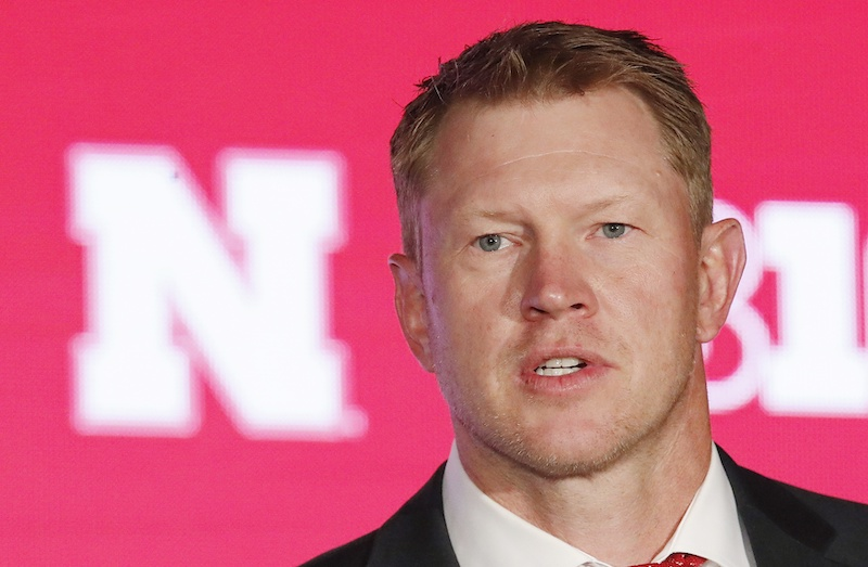 Jul 18, 2019; Chicago, IL, USA; Nebraska Cornhuskers head coach Scott Frost speaks during the Big Ten Football Media Days event at Hilton Chicago. Mandatory Credit: Jim Young-USA TODAY Sports