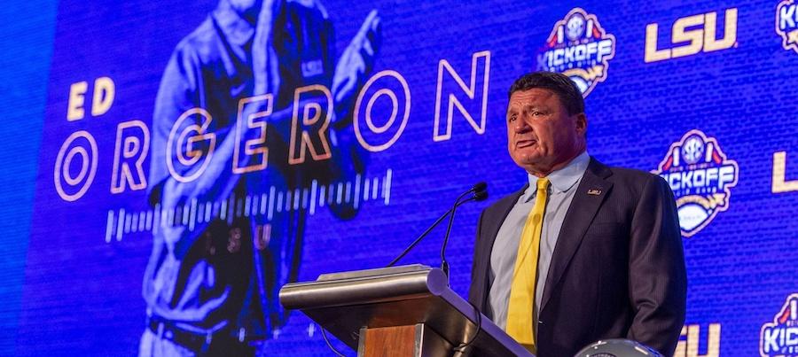 July 15, 2019; Birmingham, AL, USA; LSU Tigers head coach Ed Orgeron speaks to the media during SEC Media Days at the Hyatt Regency-Birmingham. Mandatory Credit: Vasha Hunt-USA TODAY Sports