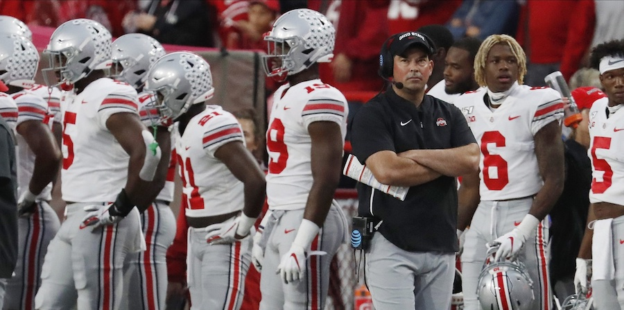 Caption: Sep 28, 2019; Lincoln, NE, USA; Ohio State Buckeyes head coach Ryan Day watches during the game against the Nebraska Cornhuskers in the first half at Memorial Stadium. Mandatory Credit: Bruce Thorson-USA TODAY Sports