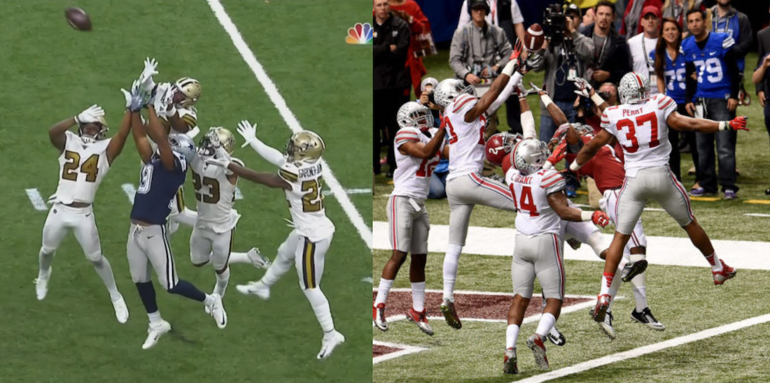 amari cooper being quadruple teamed by buckeyes in new orleans over the years