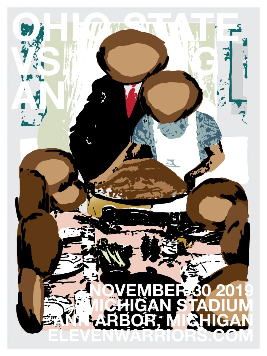 Brutus gathers with his family to celebrate a traditional Thanksgiving in this week's game poster.