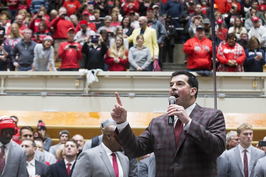 Nov 23, 2019; Columbus, OH, USA; Ohio State Buckeyes head coach Ryan Day addresses fans and the OSU marching band prior to the game against the Penn State Nittany Lions at Ohio Stadium. Mandatory Credit: Greg Bartram-USA TODAY Sports