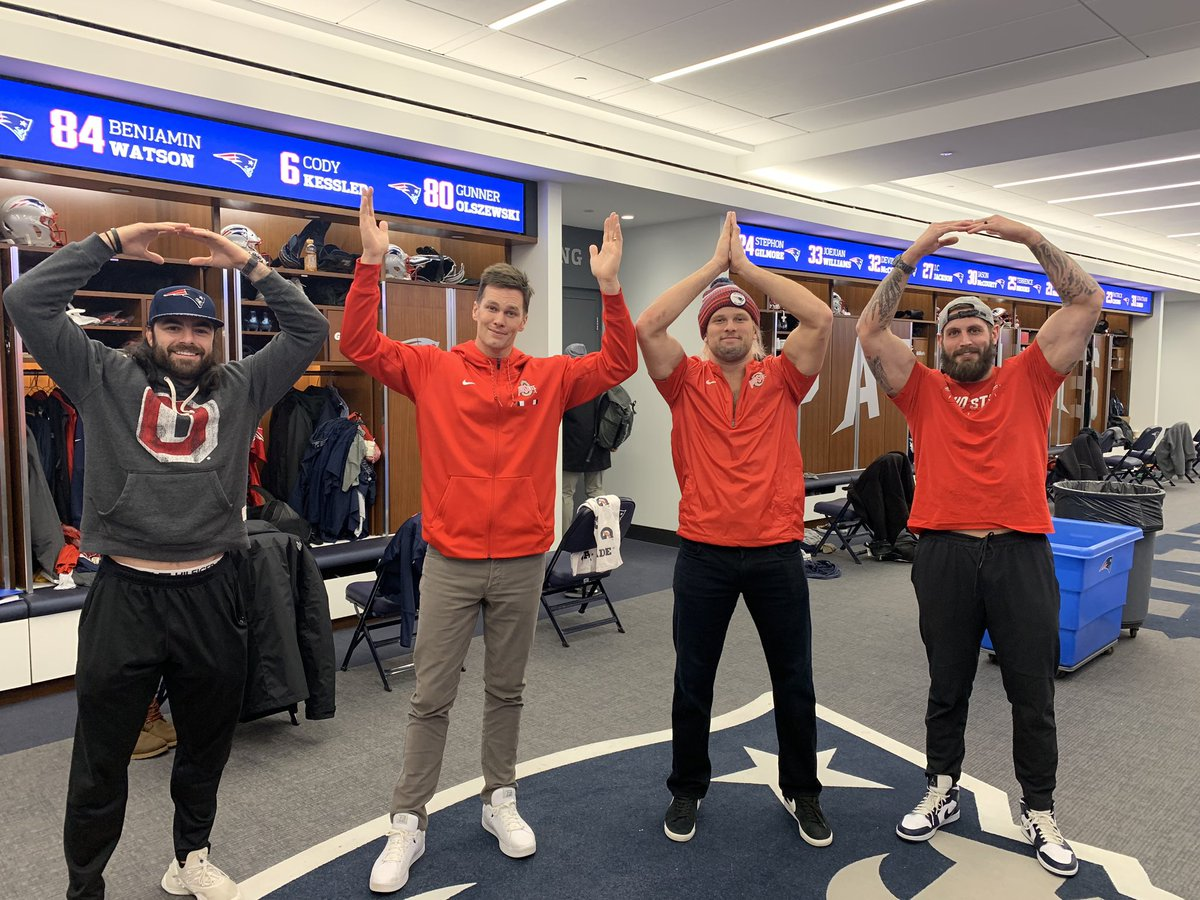 Tom Brady and Chase Winovich Wear Buckeye Gear and Pose With Nate Ebner and John Simon After Presumably Losing a Bet