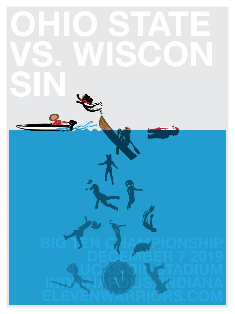 Brutus boat races the Big Ten in this week's game poster.