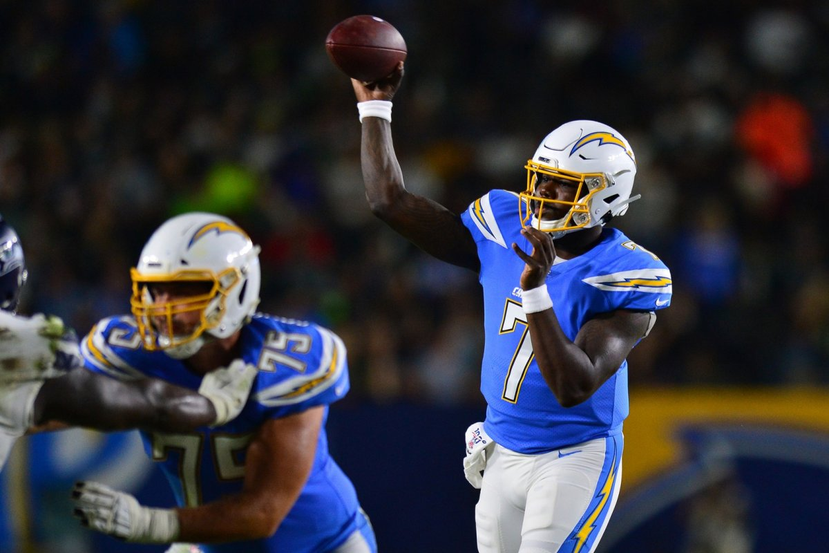 Aug 24, 2019; Carson, CA, USA; Los Angeles Chargers quarterback Cardale Jones (7) throws a pass against the Seattle Seahawks during the second quarter at Dignity Health Sports Park. Mandatory Credit: Jake Roth-USA TODAY Sports