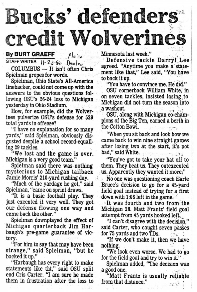 Newspaper clipping about Ohio State vs. Michigan (1986)