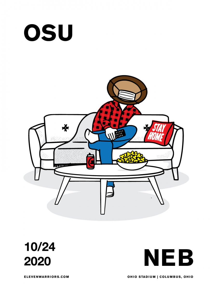 Brutus stays home and enjoys the game in this week's game poster.