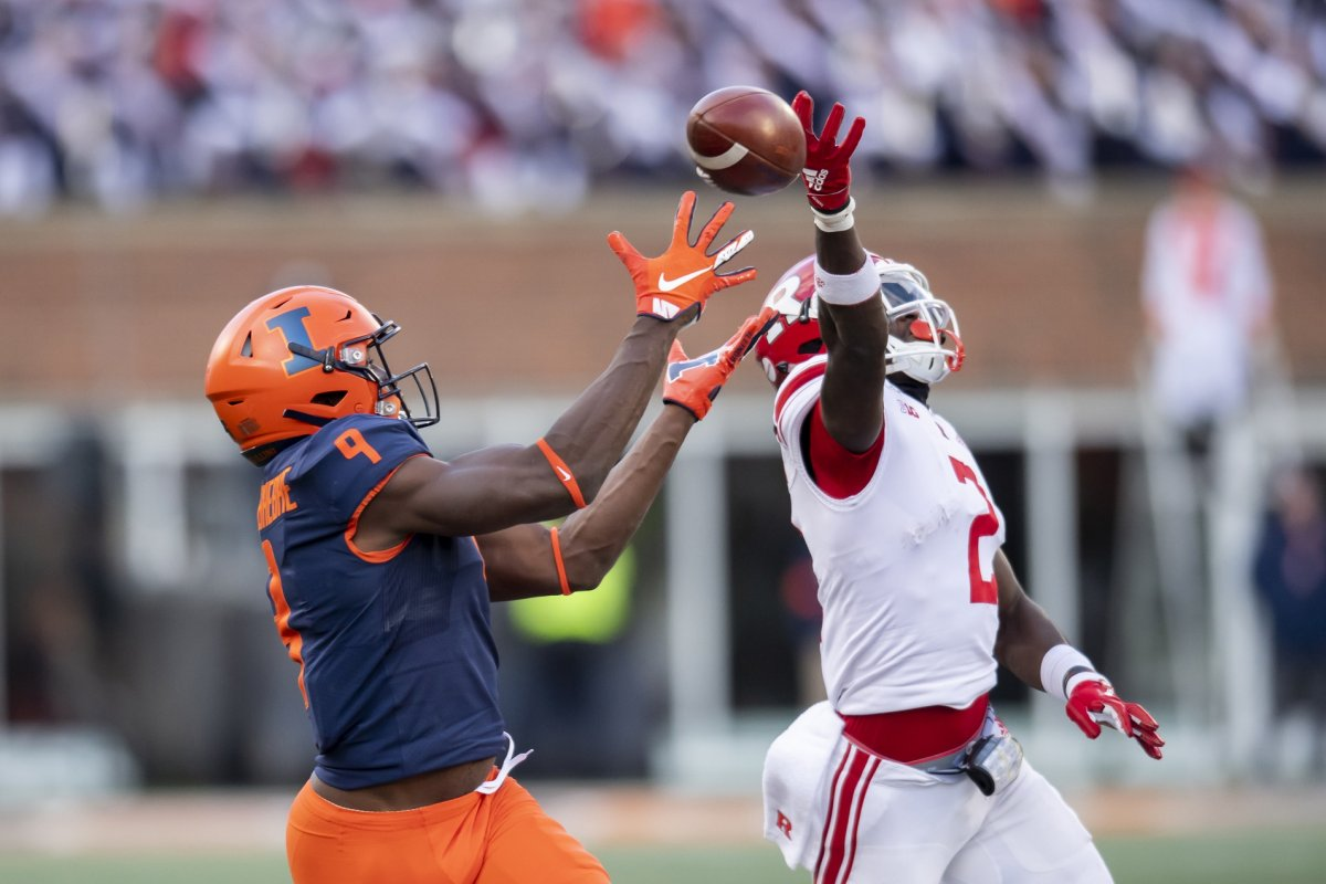 Nov 2, 2019; Champaign, IL, USA; Illinois Fighting Illini wide receiver Josh Imatorbhebhe (9) catches a pass for a touchdown during the second half against the Rutgers Scarlet Knights at Memorial Stadium. Mandatory Credit: Patrick Gorski-USA TODAY Sports