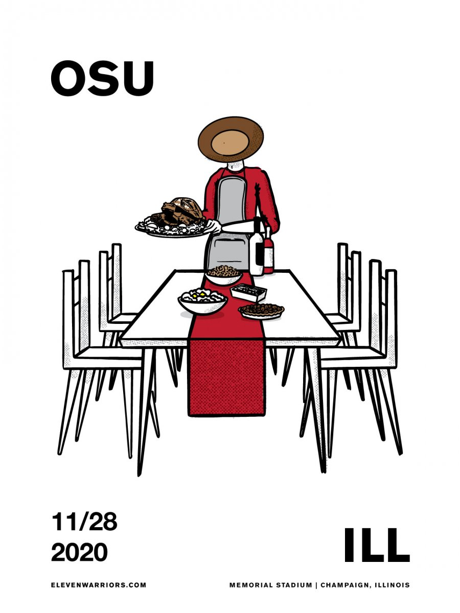 Brutus breaks with tradition and serves up Illibuck at his Thanksgiving table in this week's game poster.