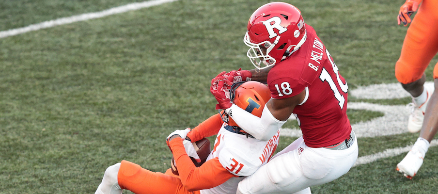 Devon Witherspoon intercepts a pass against Rutgers