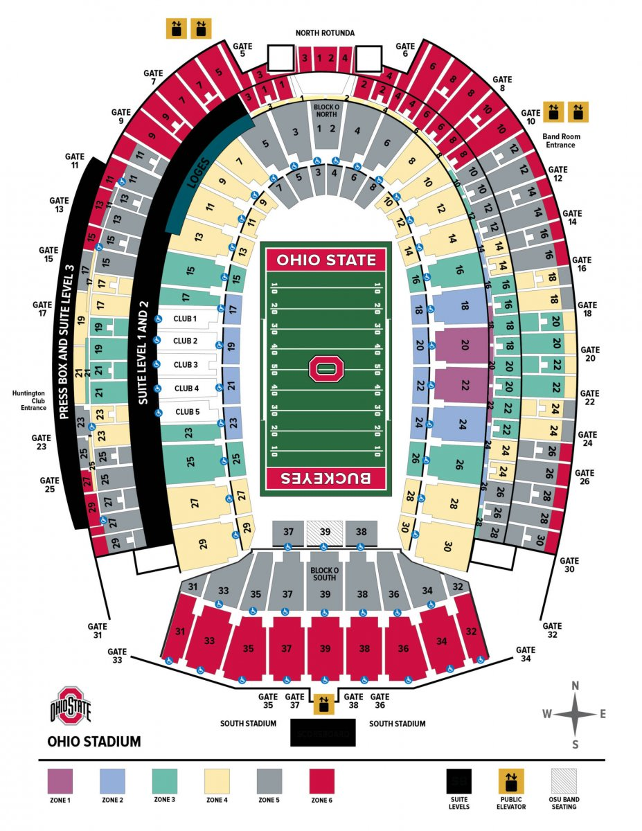 Ticket zone map