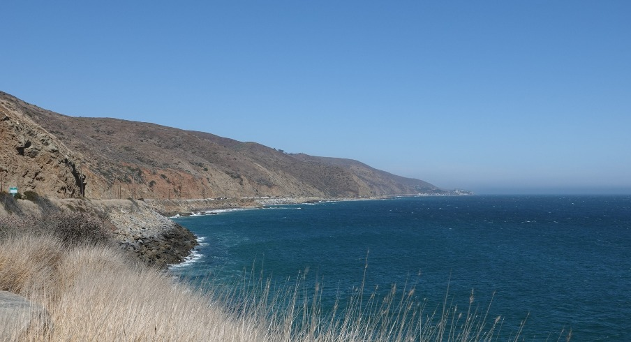 Looking south from Pacific Coast Highway in Ventura County, with Point Dume in Malibu visible in the distance, as seen in August 2019.
