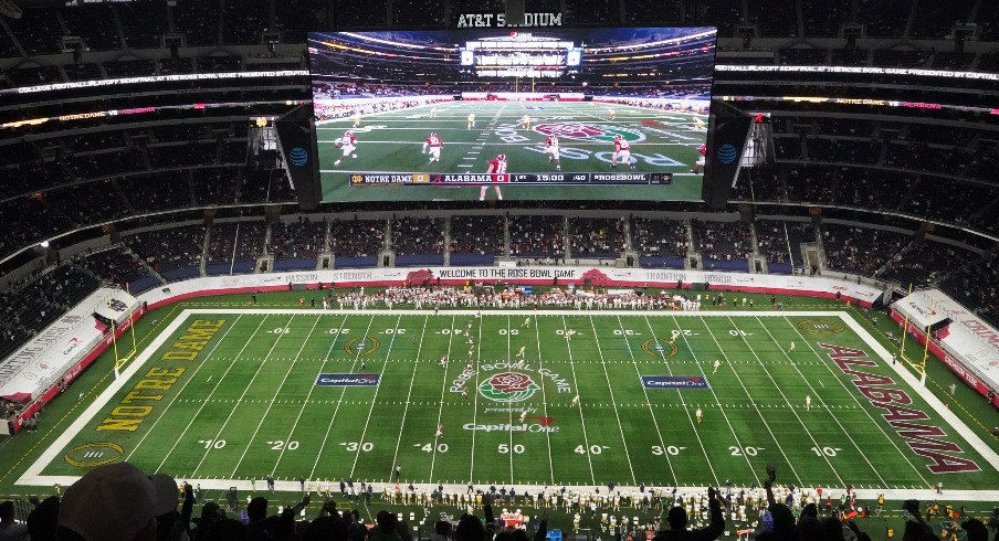Jan 1, 2021; Arlington, TX, USA; General view of the opening kickoff between the Alabama Crimson Tide and the Notre Dame Fighting Irish during the Rose Bowl at AT&T Stadium. Mandatory Credit: Kirby Lee-USA TODAY Sports