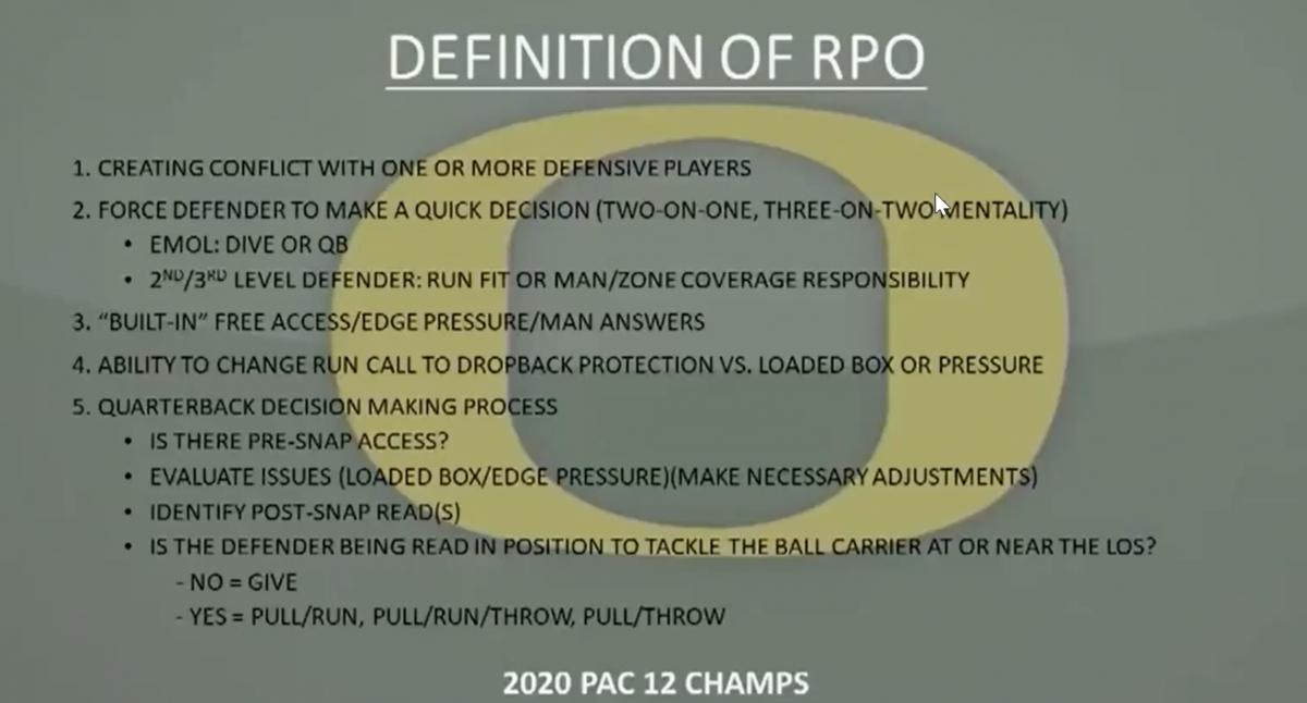 Joe Moorhead's definition of a Run/Pass Option
