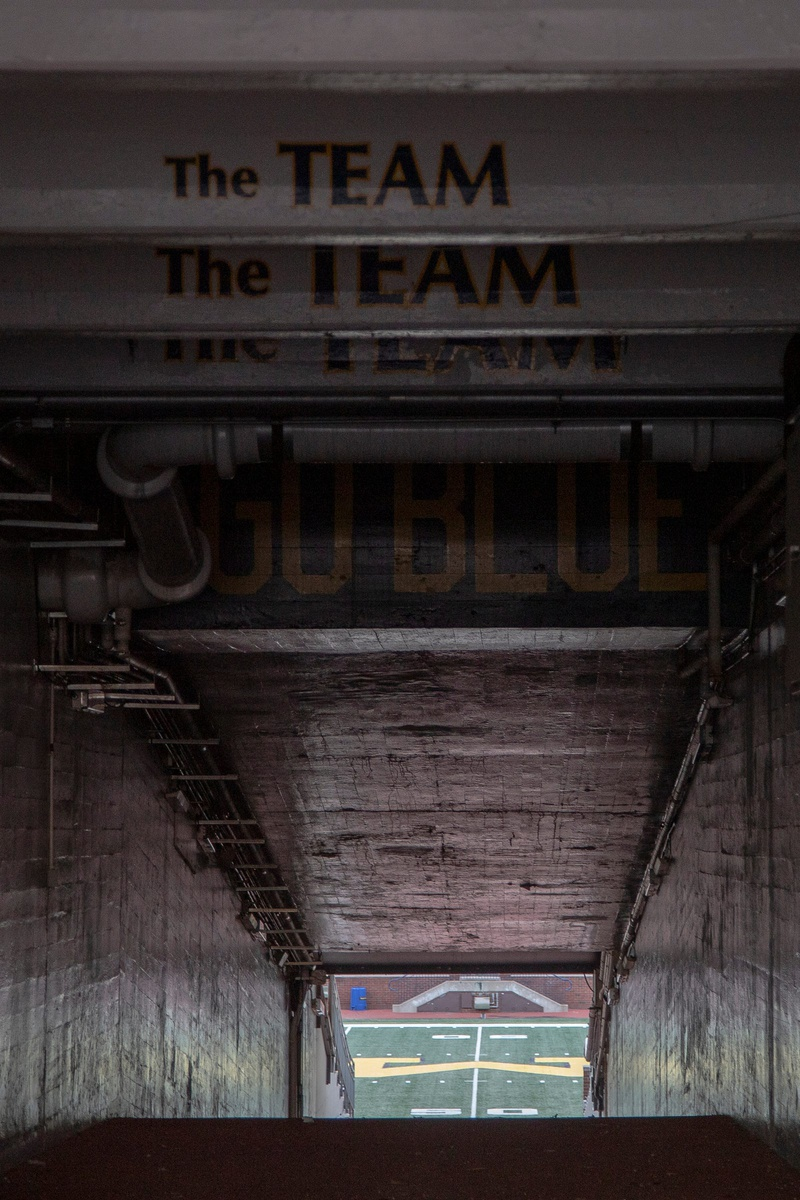 Tunnel at Michigan Stadium in Ann Arbor, Friday, April 3, 2020.