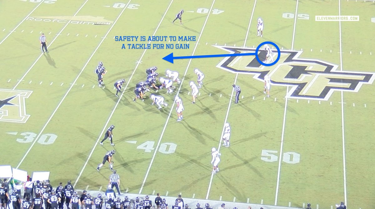 Tulsa's safety lines up 11 yards off the ball