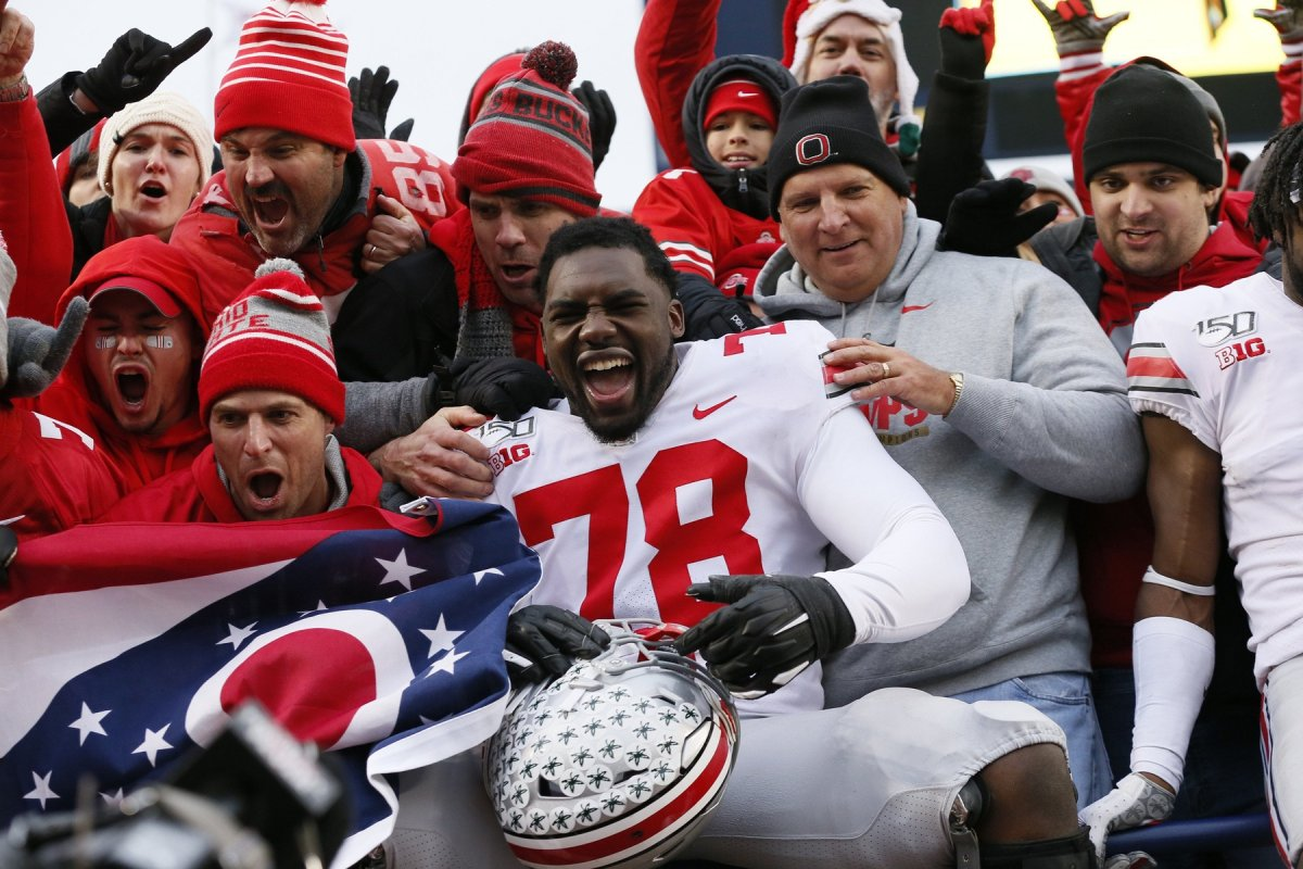 Ohio State tackle Nicholas Petit-Frere, here celebrating with fans after a win over Michigan in 2019,