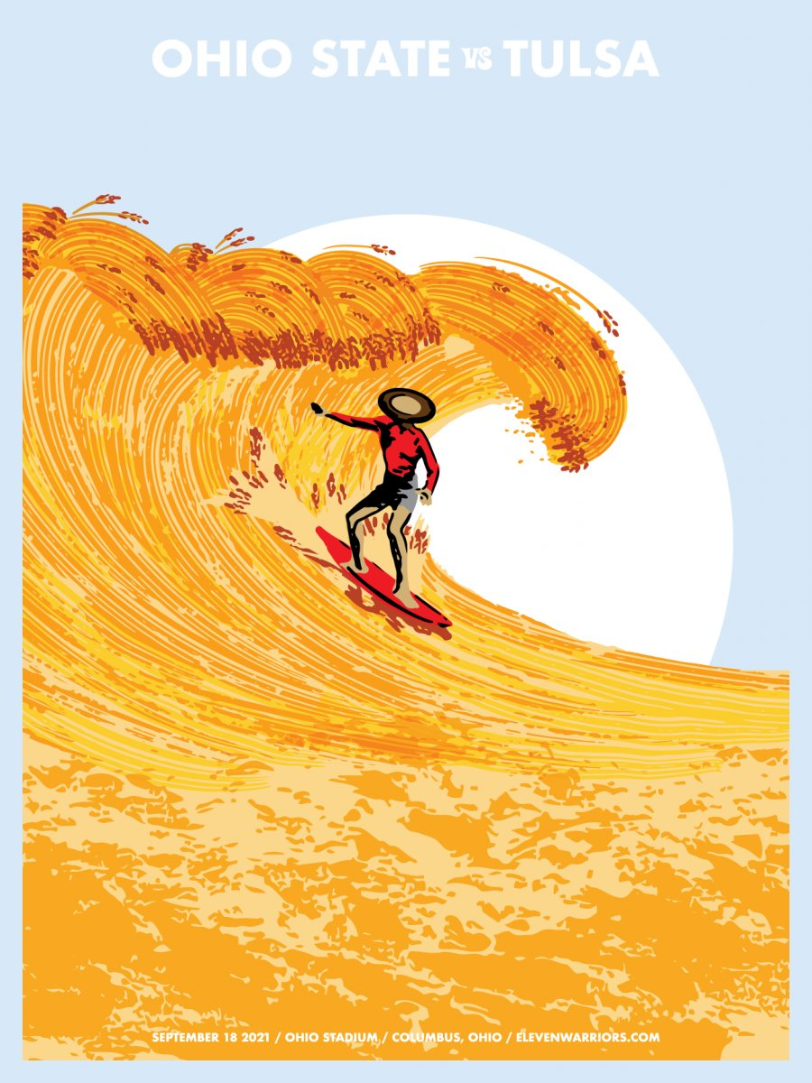 Brutus takes advantage of the swell with the Golden Hurricane coming to town in this week's game poster.