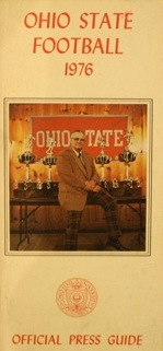 Woody Hayes and some heavy metal on the cover of the 1976 Ohio State football media guide