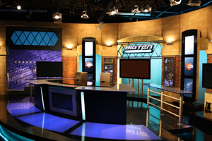 The anchor desk at the Big Ten Network