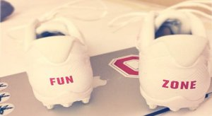 "Braxton Miller's ""FUN ZONE"" cleats."
