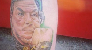 there's bad tattoos and then there's a fat kirk ferentz tattoo