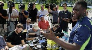 Frank Clark addresses Seattle media on Friday