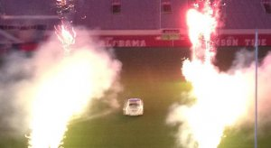 Fireworks and a Rolls-Royce at Alabama's Bryant-Denny Stadium for Nick Saban's daughter's wedding.