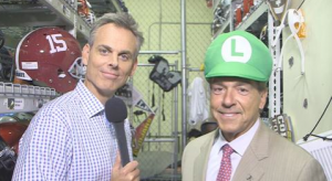 Nick Saban in a Luigi hat.