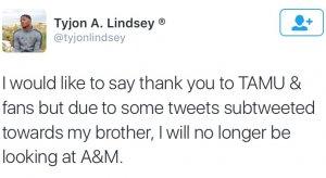 Buckeye target Tyjon Lindsey was unamused by Moorehead's tweets.