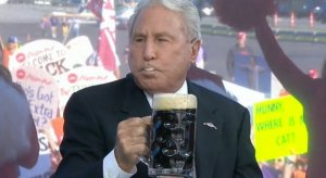 Lee Corso drinks a beer @CollegeGameDay