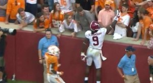 Bo Scarbrough taunts Tennessee fan.