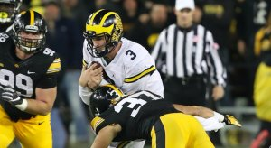 Wilton Speight apparently injured at Iowa.