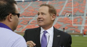 Les Miles during happier times at LSU.