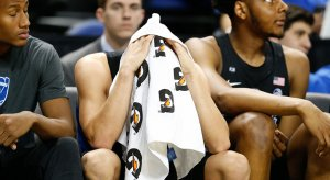 Grayson Allen received a technical foul for tripping in a game Wednesday night against Elon