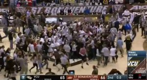 St. Bonaventure fans storm the court.