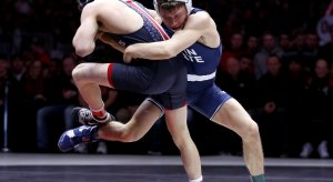 Former Penn State wrestler Nick Suriano tosses former Buckeye Jose Rodriguez at Value City Arena