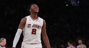 Feb 3, 2018; Queens, NY, USA; St. John's Red Storm guard Shamorie Ponds (2) celebrates in the last seconds of the game against the Duke Blue Devils at Madison Square Garden. Mandatory Credit: Anthony Gruppuso-USA TODAY Sports
