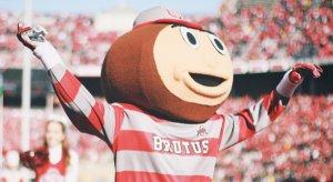 Brutus Buckeye celebrates Columbus' new ranking.