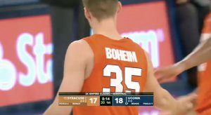 Buddy Boeheim with a misspelled name on his jersey
