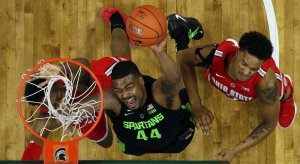 Nick Ward tallied nine points and six rebounds before exiting with a fractured hand against Ohio State.