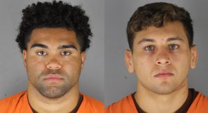 Minnesota wrestlers Gable Steveson (left) and Dylan Martinez were arrested Saturday night.