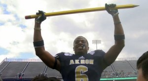 "Akron unveiled a ""turnover pencil"" Saturday."
